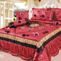 Tache 4-6 Piece Golden Red Winter Holiday Luxurious Patchwork Comforter Quilt Set