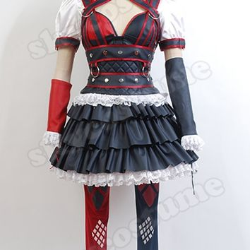 Batman Arkham Harley Quinn Cosplay Costume Outfit Party Dress Dark Knight Suit