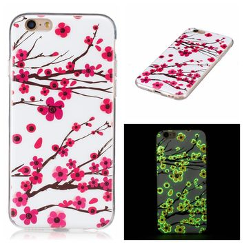 Fashion Luminous Case for iPhone 7 6 6s Plus SE 5 5s Funda Ultra Thin Embossed Painting Clear Soft TPU Gel Cover Glow Dark Shell
