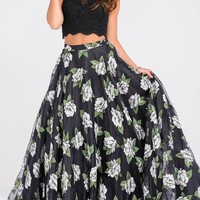 Long Two Piece Floral Print Sleeveless Prom Dress