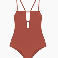 Tali Front Cut Out One Piece Swimsuit - Copper