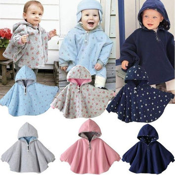 Baby Kids Toddler Double-side Wear Hooded Cape Cloak Poncho Coat Hoodie Outwear = 1932131844