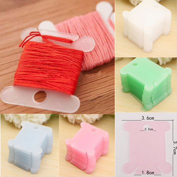ASLT 100pcs Plastic Embroidery Floss&Craft Thread Bobbins for Storage Holder Cross Stitch Sewing Supplies