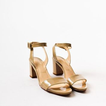 PEAP Christian Louboutin Beige Patent Leather Crisscross Strap Sandals