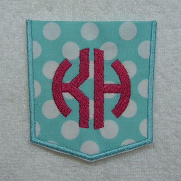 Double Circle Monogram Faux Pocket Fabric Embroidered Iron On Patch MADE TO ORDER