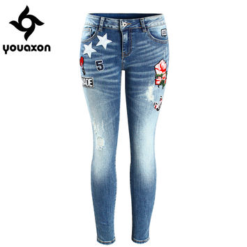 2088 Youaxon Women`s Embroidery Flower Brand New Low Waist Stretch Skinny Pencil Pants Jeans For Women Denim Jean Cropped Capris