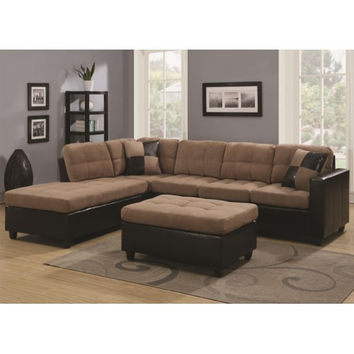 Mallory Reversible Sectional with Casual and Contemporary Style w Ottoman