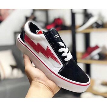 Vans X Revenge X Storm Old Skool Trending Women Men Stylish Canvas Flat Sneakers Sport Skateboard Shoes Black/White/Red I-AHXF