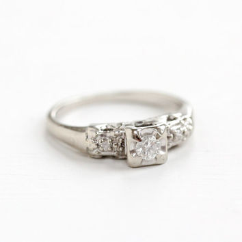 Vintage 14k White Gold Diamond Ring - Size 6 1/4 1940s Era 1/10 Carat Center Diamond Engagement Wedding Illusion Head Fine Jewelry
