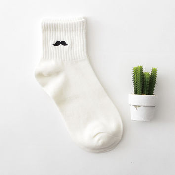 Moustache 2 Pair Crew Socks Set