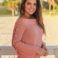 Dusty Pink Off Shoulder Lace Up Sweater