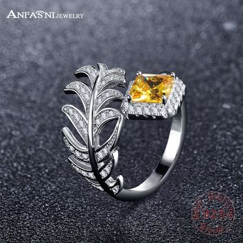 ANFASNI 2017 Newest 925 Sterling Silver Ring Women's Jewelry Square Yellow Stone Leaves Open Ring Wedding Engagement Jewelry