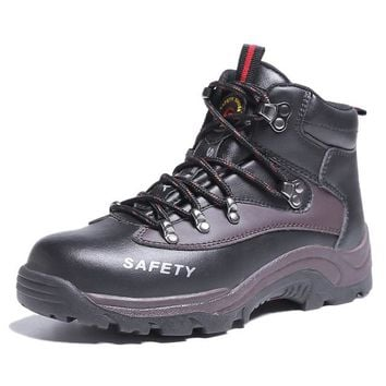 Men steel toe army boots Puncture proof winter outdoor shoes Fashion Martin boots bicycle casual safety footwear with many sizes