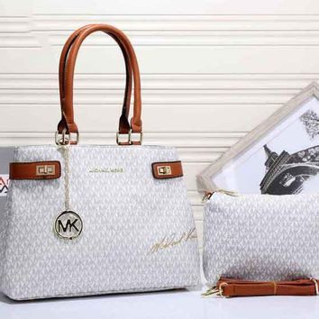 MK Women Fashion Trending Shopping Bag Leather Satchel Handbag Shoulder Bag Crossbody Two piece Set White G-MYJSY-BB