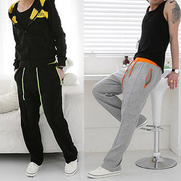 Color Drawstring Men Casual Sport Pants
