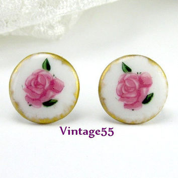 Antique Earrings Porcelain Hand painted Rose Screw Back 1900's