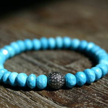 Diamond Pave Turquoise Sterling Silver Beadwork Stacking Bracelet/Luxury Diamond Pave/AAA Natural Turquoise