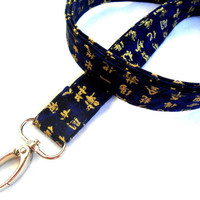 Blue and Gold Asian Characters ID Badge Lanyard - Key Chain Lanyard Blue Gold