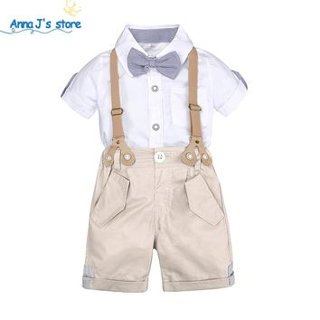 Set of clothes for little boys summer kit for kids Shorts Shirt 1 to 4 years old baby clothes suits Formal Wedding Costume TZ607