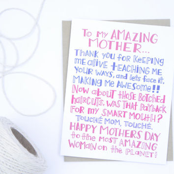 To My Amazing Mother - Mother's Day Card - Funny Mom Card