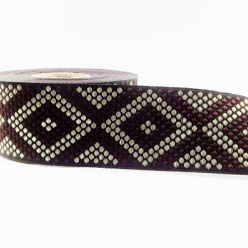 Geometric Dotted Diamond Woven Embroidered Jacquard Trim Ribbon - Brown Black Light Gold - 34mm - 1 Meter  or 3.3 Feet or 1.09 Yards