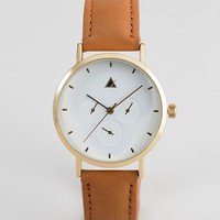 ASOS DESIGN sub dial detail leather watch at asos.com