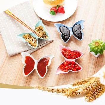 1PC Butterfly Shape Soy Bowl PP Plastic Wheat Straw Material Japanese Style Wasabi Sacue Small Plate Dipping Sauce Dishes 3