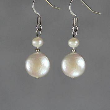 Circle disc pearl drop earrings Bridesmaids gifts Free US Shipping handmade Anni Designs