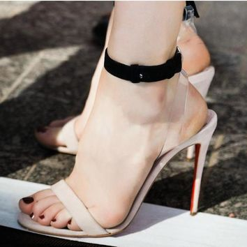 Simple Style Open Toe Ankle Wrap Stiletto High Heels Sandals