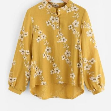 Floral Dip Hem Blouse Woman Yellow Band Collar Button Blouse Long Sleeve High Low Cute Blouse
