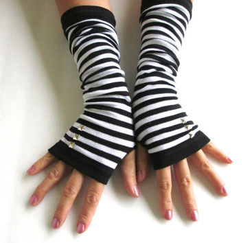 Studded Striped Arm Warmers-Grey Gloves- Fingerless Gloves-Knit Gloves-Studded Gloves.