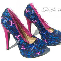 Breast Cancer Heels-party pumps-for a cause-custom shoes-personalized heels