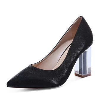 Pointed Toe Wedding Shoes High Heel Block Heel Pumps
