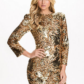 V Neck Heavy Sequins Dress, Club L