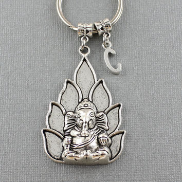 SRA Large Ganesha Keychain - Ganesha Elephant Key Ring - Yoga Key Chain - Hindu God - Indian God - Personalized Keychain - Gift Ideas