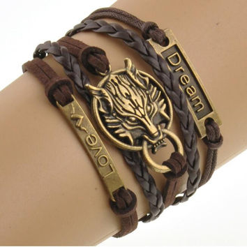 Boho Style Charm Bracelet Rope Chain Brown Wolf Men's Jewelry Bracelets For Women Bracelets Woman With Nameplate Free Shipping