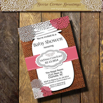 Baby Shower MASON JAR Bridal Shower Invitation Burlap and Lace Rustic Rehearsal Dinner Wedding invitations any color pink grey Baby Sprinkle