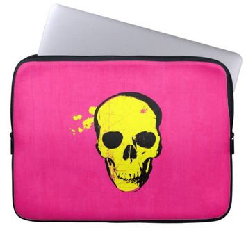 Funny Cute Cool Yellow Grunge Skull Pink Texture Laptop Computer Sleeves