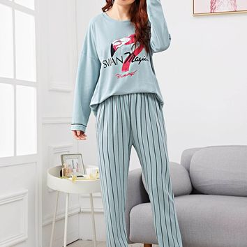 Flamingo Print Striped Pajama Set