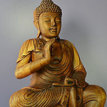 """Buddha Sculpture Sitting on Bed of Lotus Flowers - Hand Carved 19"""""""