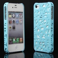 eFuture(TM) Light blue Bird's Nest sleek hard back cover case fit for iphone4 4G 4S +eFuture's nice Keyring