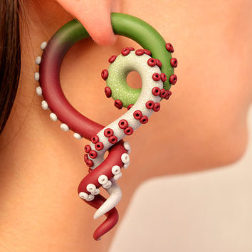 "Color Fade Tentacle Gauges, Fake Plugs and Ear Plugs from 6g to 3/4"" for Stretched Lobes, Tentacle Earrings, Fake Gauge Earrings, Octopus"