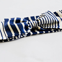 Navy and White Stripes Turban Headband, Boho Headband, Bow Tie Hairband for Woman and Girls
