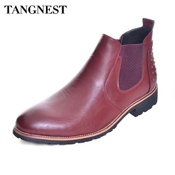 Tangnest NEW British Style Chelsea Boots For Men Autumn Split Leather Ankle Boots Vintage Rivets Pointed Toe Wedge Shoes XMX877
