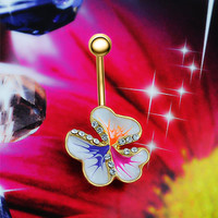 Beautiful Colourful Flower Belly Button Ring - Crystal Lined