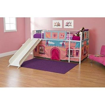 Girls Princess Twin Loft Bed with Slide White