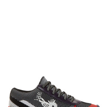 Kenzo Black And White Modified Tweed Monster Print Sneakers
