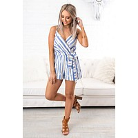 Plain & Simple Striped Romper (Denim Blue)
