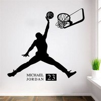 Sports Poster Basketball Wall Stickers NO.23 Michael Jordan slam dunk Wallpaper for Ki