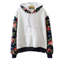 Floral Fleece 2016 Harajuku Women Long Sleeve Casual Sweatshirts